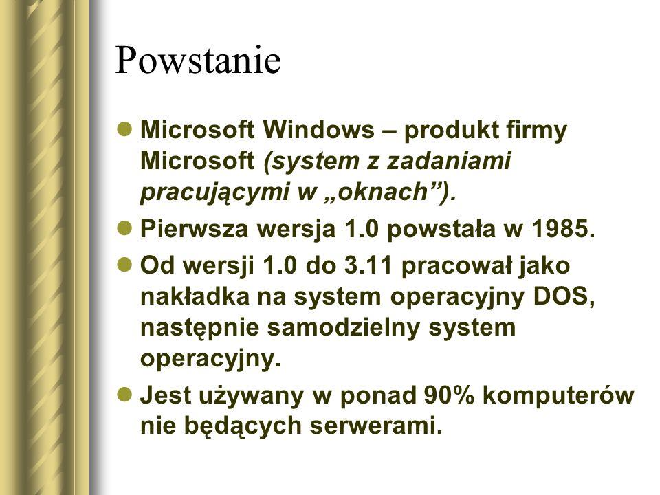 """Powstanie Microsoft Windows – produkt firmy Microsoft (system z zadaniami pracującymi w """"oknach""""). Pierwsza wersja 1.0 powstała w 1985. Od wersji 1.0"""