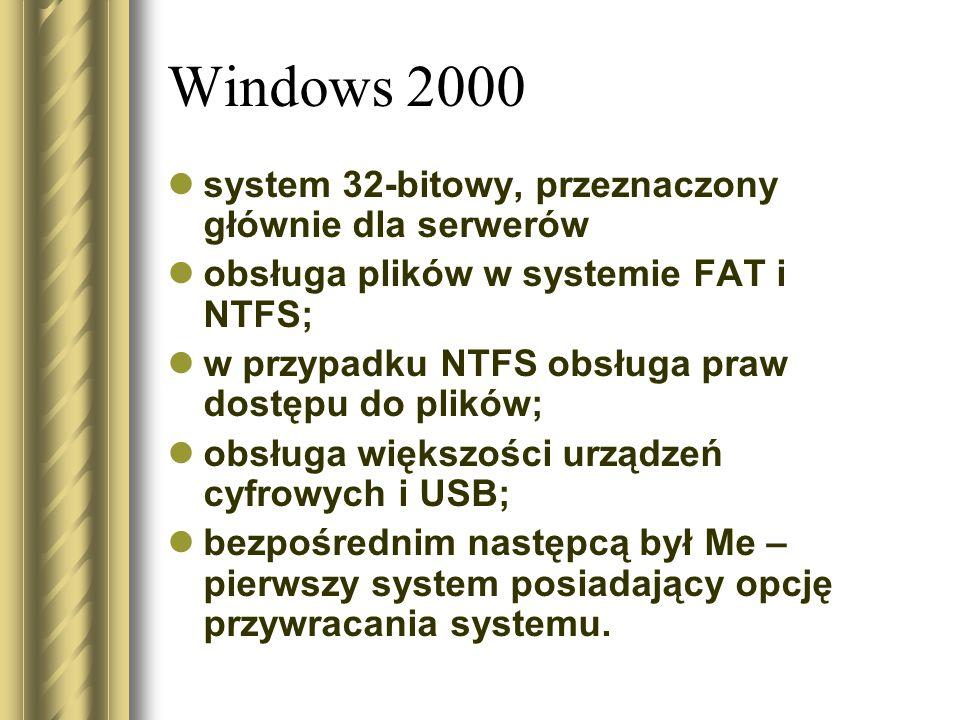 Windows 2000 system 32-bitowy, przeznaczony głównie dla serwerów obsługa plików w systemie FAT i NTFS; w przypadku NTFS obsługa praw dostępu do plików