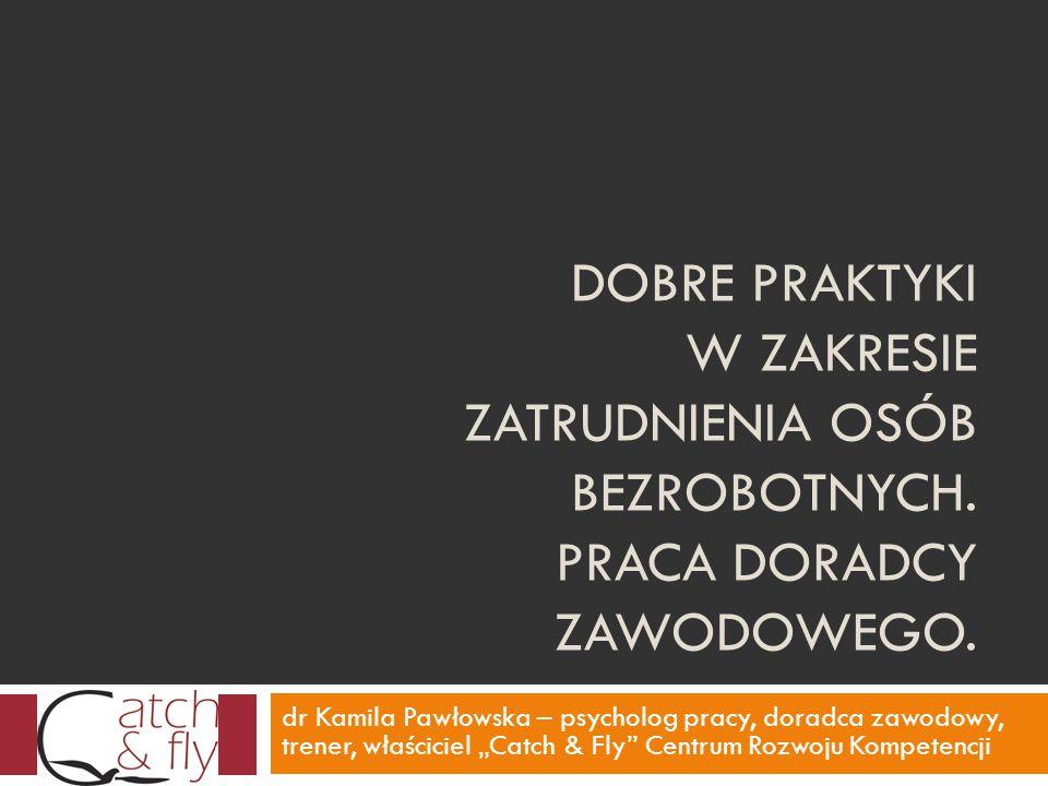 DOBRE PRAKTYKI W ZAKRESIE ZATRUDNIENIA OSÓB BEZROBOTNYCH. PRACA DORADCY ZAWODOWEGO. dr Kamila Pawłowska – psycholog pracy, doradca zawodowy, trener, w