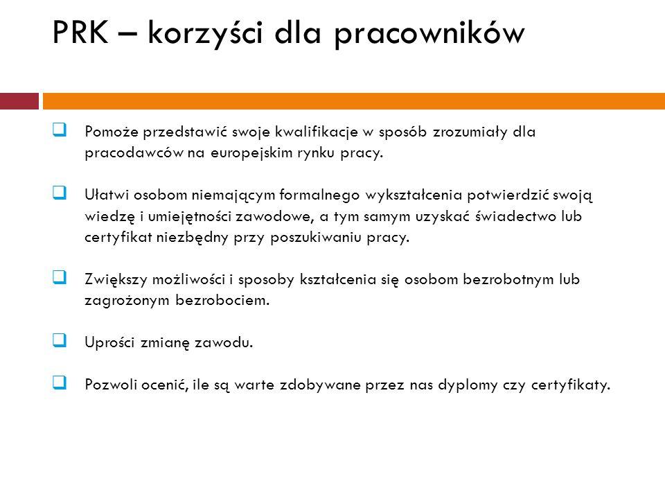 PRK – korzyści dla pracowników  Pomoże przedstawić swoje kwalifikacje w sposób zrozumiały dla pracodawców na europejskim rynku pracy.  Ułatwi osobom
