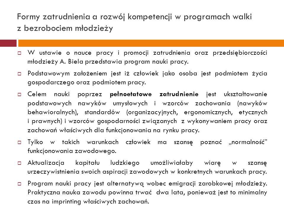 Formy zatrudnienia a rozwój kompetencji w programach walki z bezrobociem młodzieży  W ustawie o nauce pracy i promocji zatrudnienia oraz przedsiębior