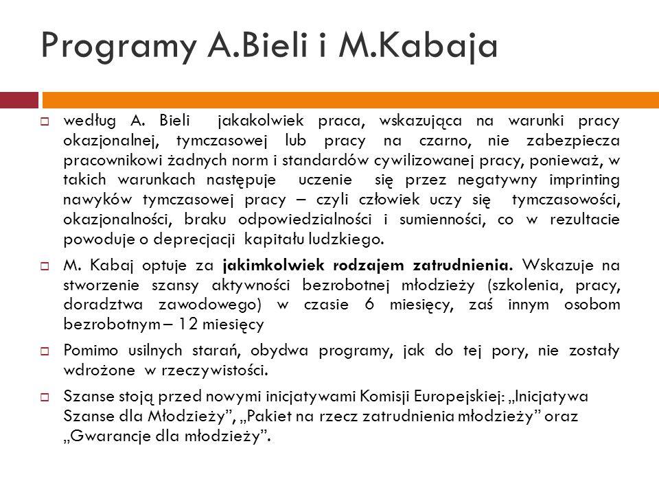 Programy A.Bieli i M.Kabaja  według A. Bieli jakakolwiek praca, wskazująca na warunki pracy okazjonalnej, tymczasowej lub pracy na czarno, nie zabezp