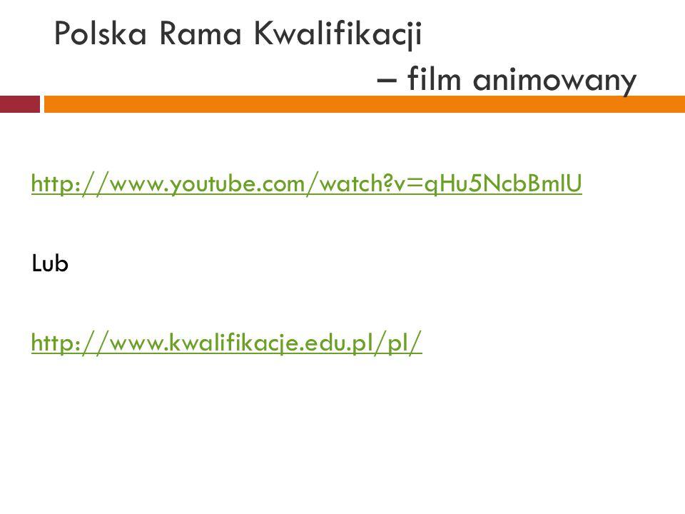 Polska Rama Kwalifikacji – film animowany http://www.youtube.com/watch?v=qHu5NcbBmIU Lub http://www.kwalifikacje.edu.pl/pl/