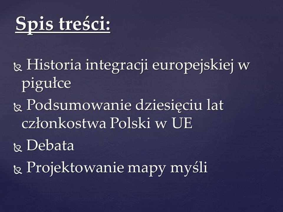  Historia integracji europejskiej w pigułce  Podsumowanie dziesięciu lat członkostwa Polski w UE  Debata  Projektowanie mapy myśli Spis treści:
