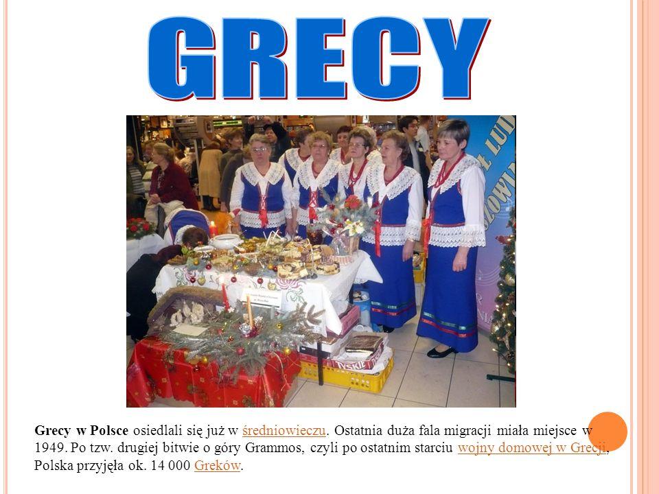 Grecy w Polsce osiedlali się już w średniowieczu. Ostatnia duża fala migracji miała miejsce w 1949. Po tzw. drugiej bitwie o góry Grammos, czyli po os