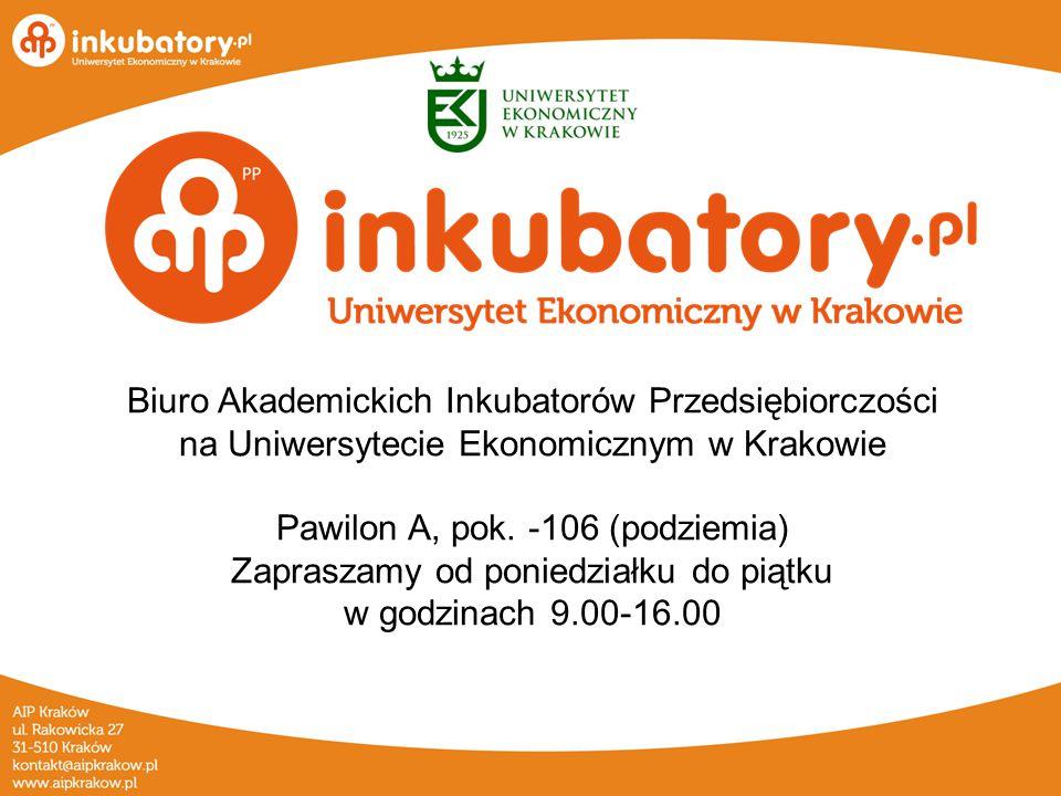 Biuro Akademickich Inkubatorów Przedsiębiorczości na Uniwersytecie Ekonomicznym w Krakowie Pawilon A, pok.