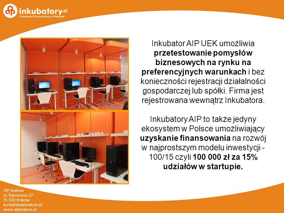 Inkubator AIP UEK umożliwia przetestowanie pomysłów biznesowych na rynku na preferencyjnych warunkach i bez konieczności rejestracji działalności gospodarczej lub spółki.