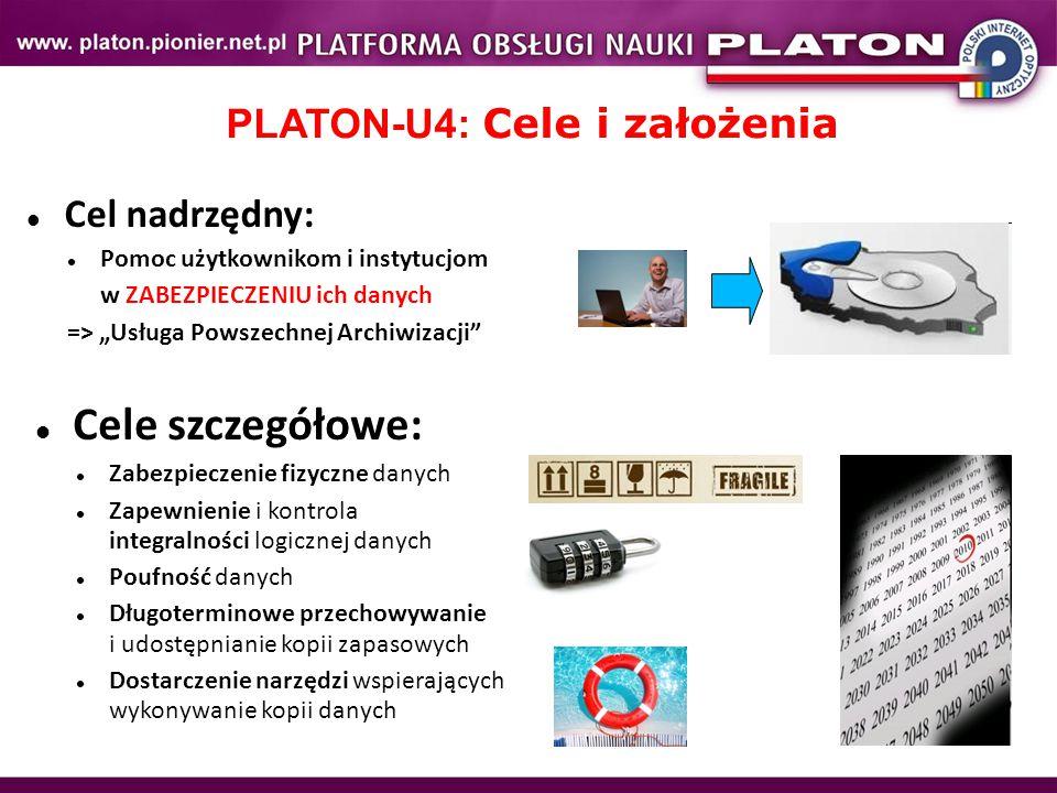 """Cele szczegółowe: Zabezpieczenie fizyczne danych Zapewnienie i kontrola integralności logicznej danych Poufność danych Długoterminowe przechowywanie i udostępnianie kopii zapasowych Dostarczenie narzędzi wspierających wykonywanie kopii danych PLATON-U4: Cele i założenia Cel nadrzędny: Pomoc użytkownikom i instytucjom w ZABEZPIECZENIU ich danych => """"Usługa Powszechnej Archiwizacji"""