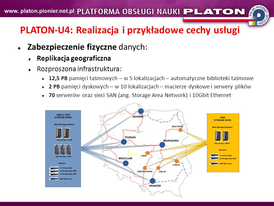 PLATON-U4: Realizacja i przykładowe cechy usługi Zabezpieczenie fizyczne danych: Replikacja geograficzna Rozproszona infrastruktura: 12,5 PB pamięci taśmowych – w 5 lokalizacjach – automatyczne biblioteki taśmowe 2 PB pamięci dyskowych – w 10 lokalizacjach – macierze dyskowe i serwery plików 70 serwerów oraz sieci SAN (ang.