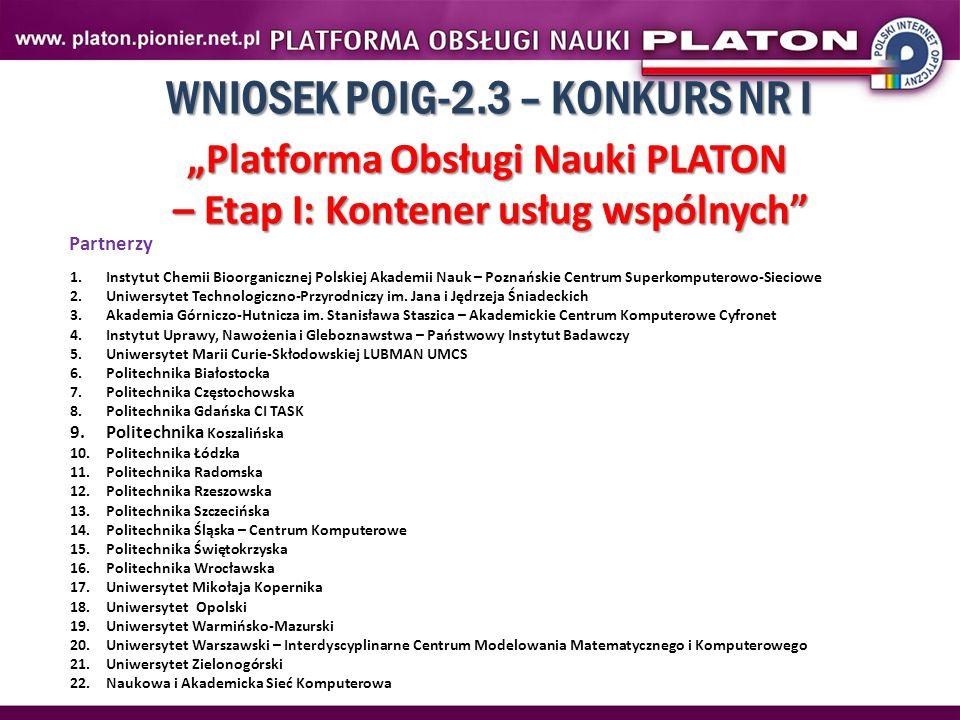 """WNIOSEK POIG-2.3 – KONKURS NR I """"Platforma Obsługi Nauki PLATON – Etap I: Kontener usług wspólnych"""" Partnerzy 1.Instytut Chemii Bioorganicznej Polskie"""