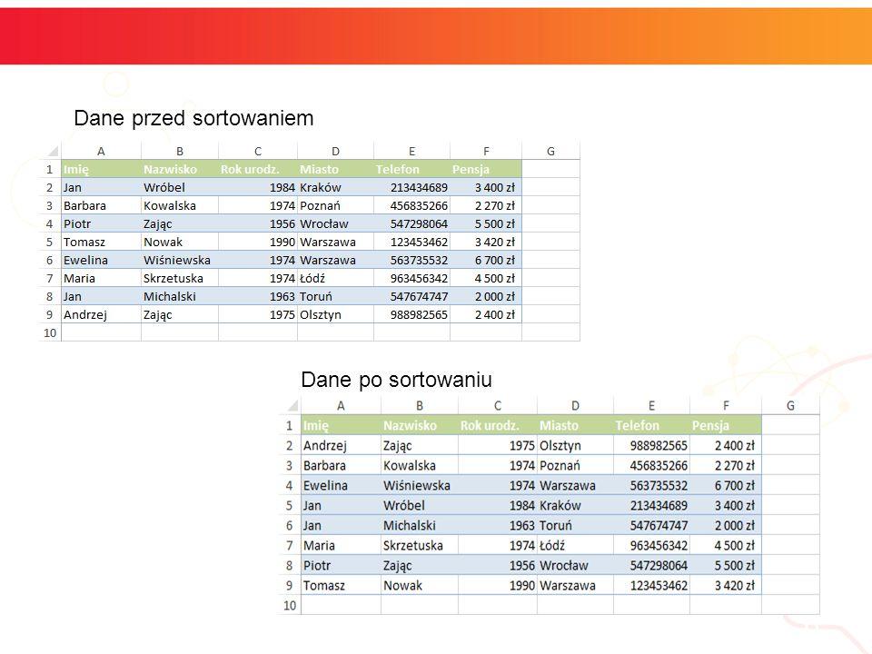 informatyka + 6 Dane przed sortowaniem Dane po sortowaniu