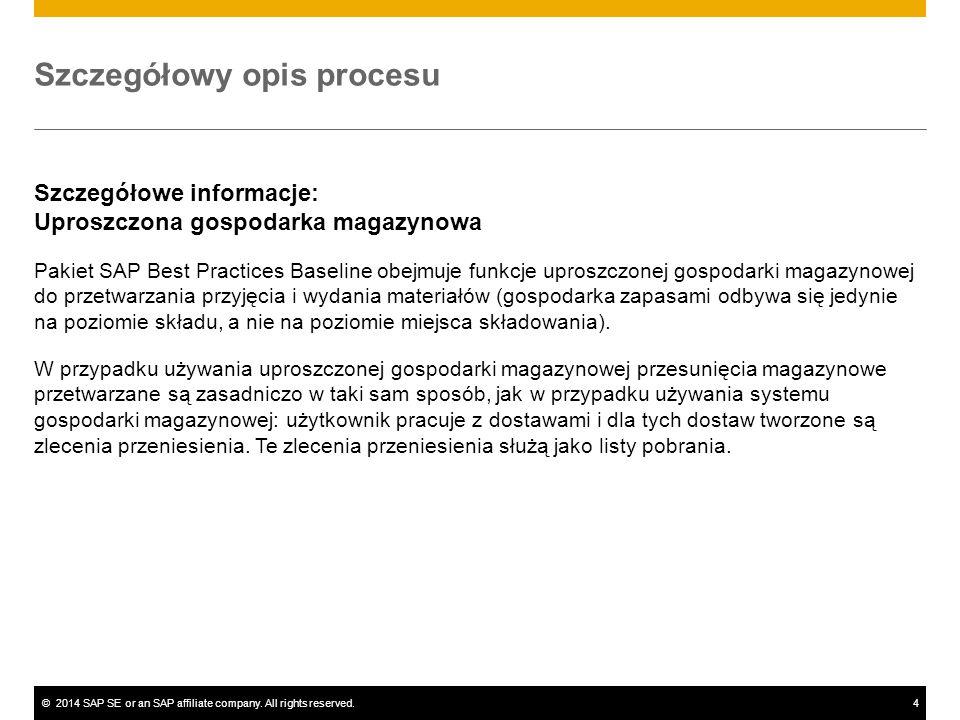 ©2014 SAP SE or an SAP affiliate company. All rights reserved.4 Szczegółowy opis procesu Szczegółowe informacje: Uproszczona gospodarka magazynowa Pak
