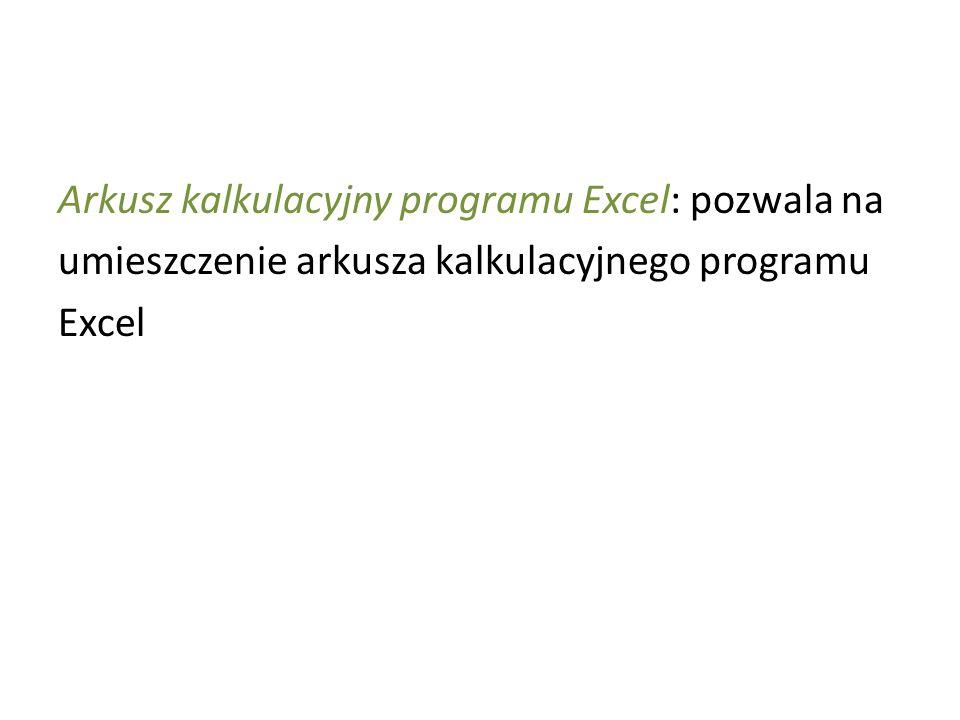Arkusz kalkulacyjny programu Excel: pozwala na umieszczenie arkusza kalkulacyjnego programu Excel