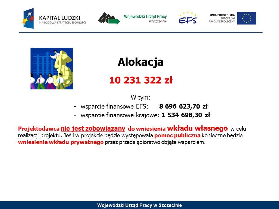 Wojewódzki Urząd Pracy w Szczecinie Alokacja 10 231 322 zł W tym: -wsparcie finansowe EFS: 8 696 623,70 zł -wsparcie finansowe krajowe: 1 534 698,30 zł Projektodawca nie jest zobowiązany do wniesienia wkładu własnego w celu realizacji projektu.