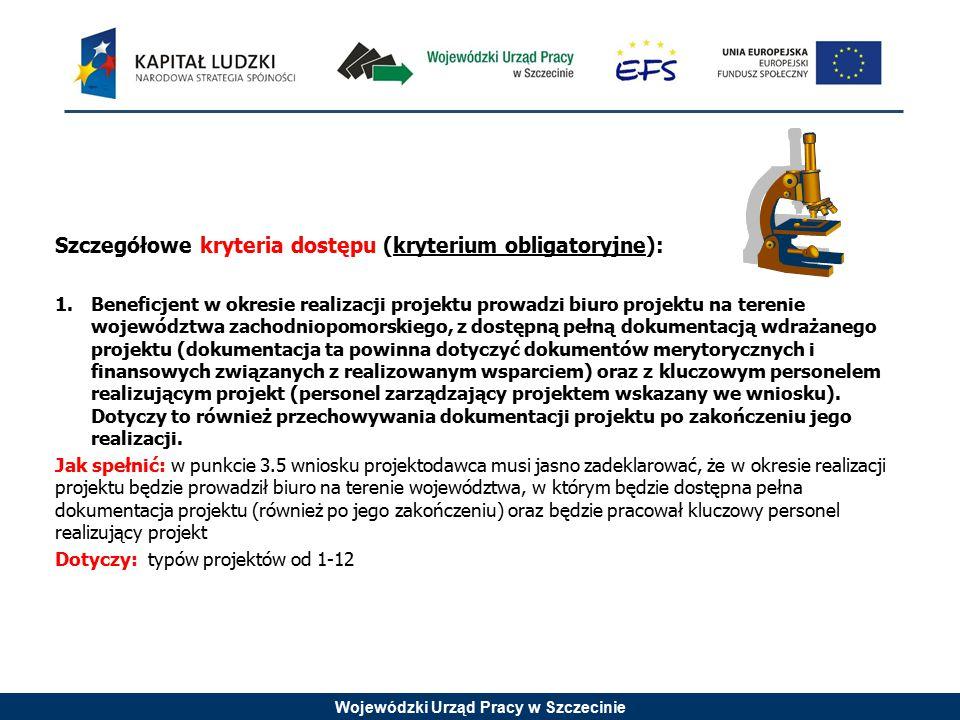 Wojewódzki Urząd Pracy w Szczecinie Szczegółowe kryteria dostępu (kryterium obligatoryjne): 1.Beneficjent w okresie realizacji projektu prowadzi biuro
