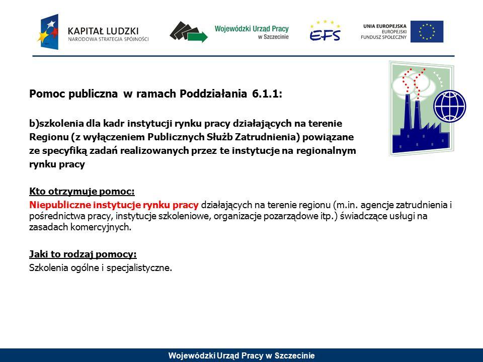 Wojewódzki Urząd Pracy w Szczecinie Pomoc publiczna w ramach Poddziałania 6.1.1: b)szkolenia dla kadr instytucji rynku pracy działających na terenie R