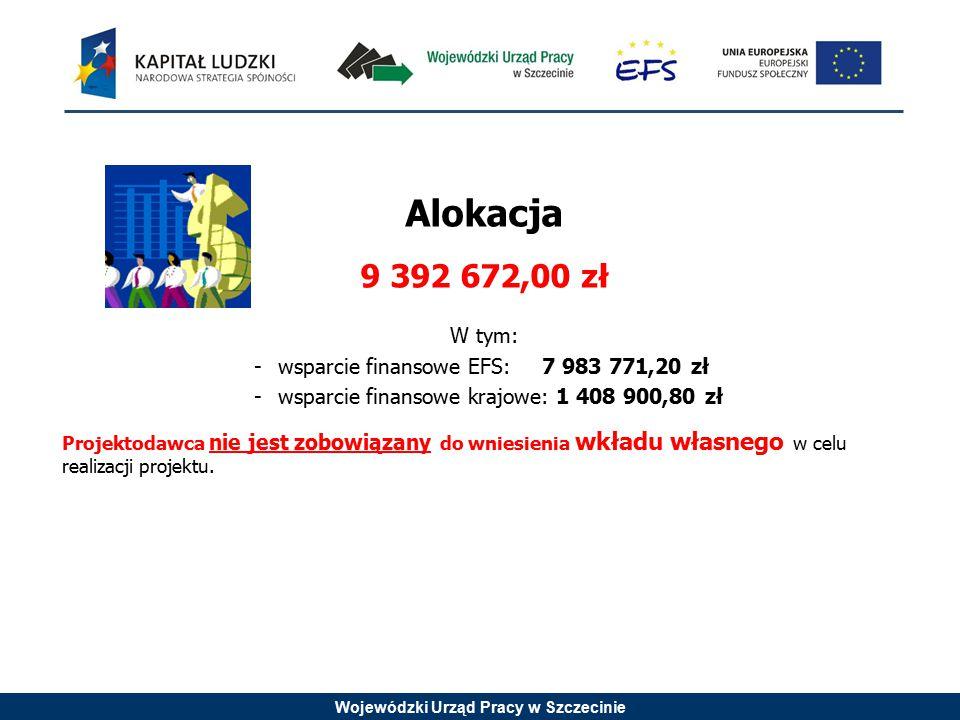 Wojewódzki Urząd Pracy w Szczecinie Alokacja 9 392 672,00 zł W tym: -wsparcie finansowe EFS: 7 983 771,20 zł -wsparcie finansowe krajowe: 1 408 900,80 zł Projektodawca nie jest zobowiązany do wniesienia wkładu własnego w celu realizacji projektu.