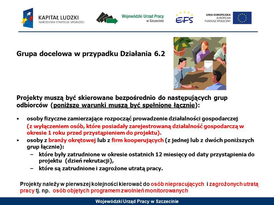 Wojewódzki Urząd Pracy w Szczecinie Grupa docelowa w przypadku Działania 6.2 Projekty muszą być skierowane bezpośrednio do następujących grup odbiorcó