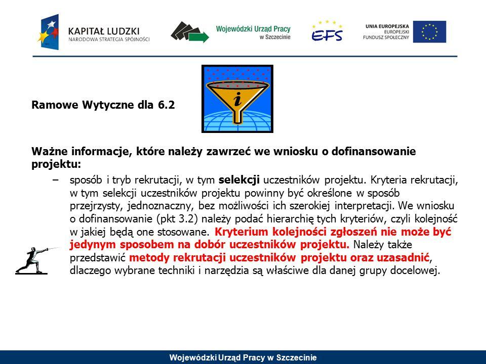 Wojewódzki Urząd Pracy w Szczecinie Ramowe Wytyczne dla 6.2 Ważne informacje, które należy zawrzeć we wniosku o dofinansowanie projektu: –sposób i tryb rekrutacji, w tym selekcji uczestników projektu.