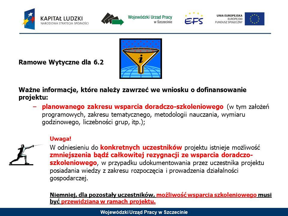 Wojewódzki Urząd Pracy w Szczecinie Ramowe Wytyczne dla 6.2 Ważne informacje, które należy zawrzeć we wniosku o dofinansowanie projektu: –planowanego
