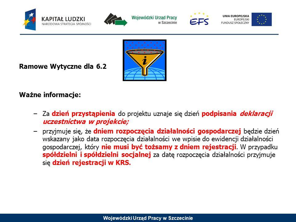 Wojewódzki Urząd Pracy w Szczecinie Ramowe Wytyczne dla 6.2 Ważne informacje: –Za dzień przystąpienia do projektu uznaje się dzień podpisania deklarac
