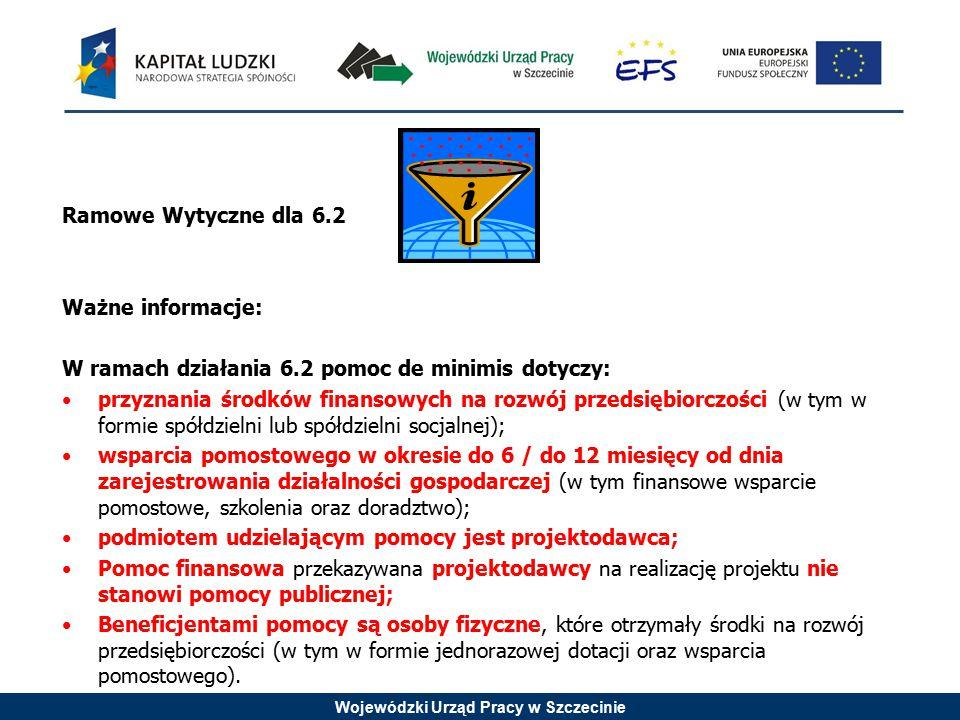 Wojewódzki Urząd Pracy w Szczecinie Ramowe Wytyczne dla 6.2 Ważne informacje: W ramach działania 6.2 pomoc de minimis dotyczy: przyznania środków finansowych na rozwój przedsiębiorczości (w tym w formie spółdzielni lub spółdzielni socjalnej); wsparcia pomostowego w okresie do 6 / do 12 miesięcy od dnia zarejestrowania działalności gospodarczej (w tym finansowe wsparcie pomostowe, szkolenia oraz doradztwo); podmiotem udzielającym pomocy jest projektodawca; Pomoc finansowa przekazywana projektodawcy na realizację projektu nie stanowi pomocy publicznej; Beneficjentami pomocy są osoby fizyczne, które otrzymały środki na rozwój przedsiębiorczości (w tym w formie jednorazowej dotacji oraz wsparcia pomostowego).
