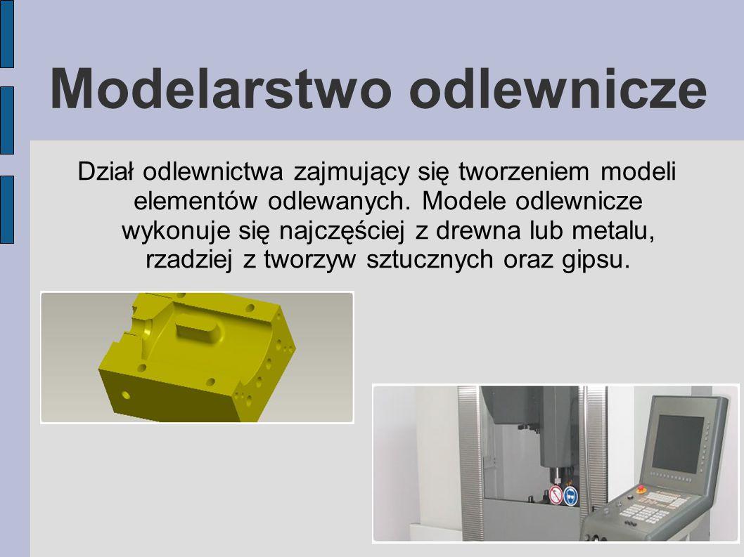 Modelarstwo odlewnicze Dział odlewnictwa zajmujący się tworzeniem modeli elementów odlewanych.