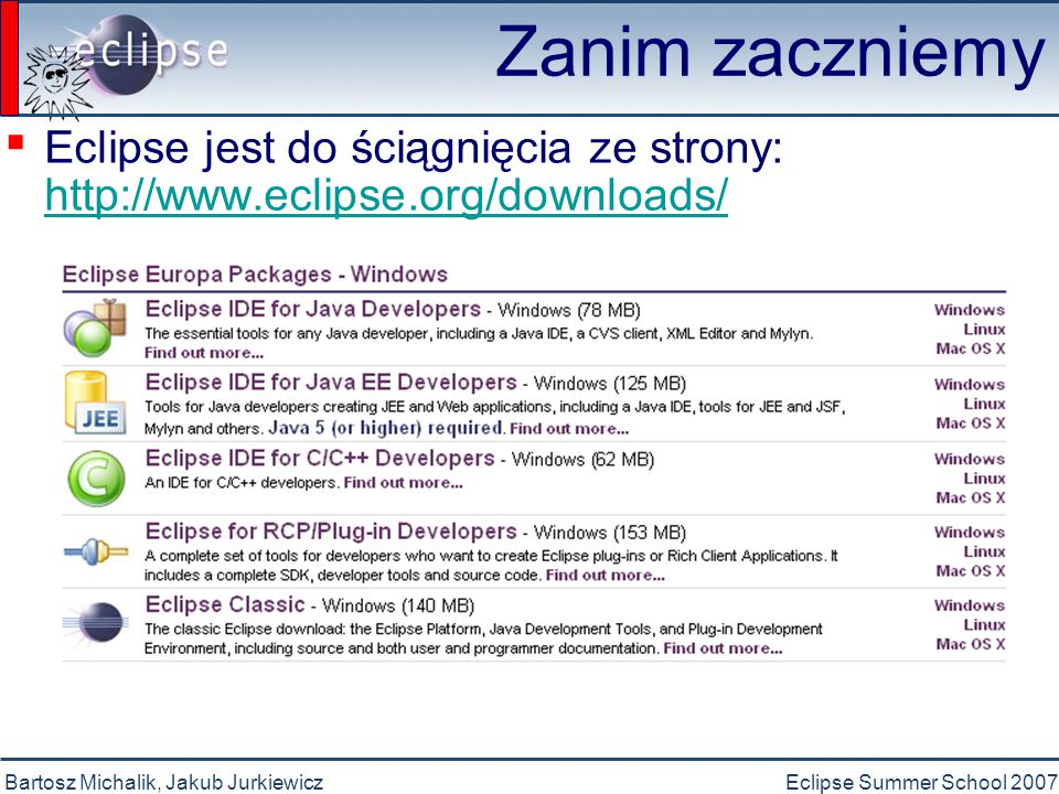 Bartosz Michalik, Jakub JurkiewiczEclipse Summer School 2007 Zanim zaczniemy ▪ Przeglądanie kodu Otwieranie deklaracji F3 Szybki podgląd hierarchiiCtrl + T Otwieranie typuCtrl + Shift + T Otwieranie hierarchii typuF4