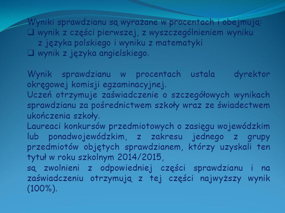 Wyniki sprawdzianu są wyrażane w procentach i obejmują:  wynik z części pierwszej, z wyszczególnieniem wyniku z języka polskiego i wyniku z matematyki  wynik z języka angielskiego.