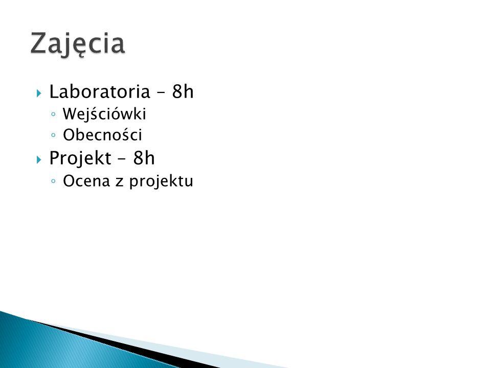  Laboratoria – 8h ◦ Wejściówki ◦ Obecności  Projekt – 8h ◦ Ocena z projektu
