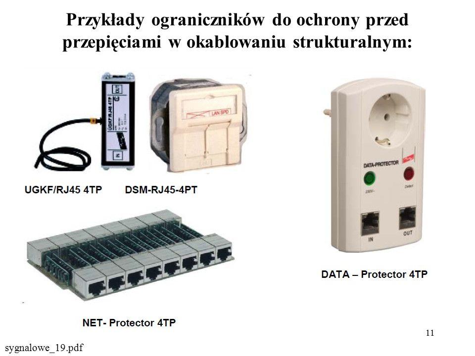 11 Przykłady ograniczników do ochrony przed przepięciami w okablowaniu strukturalnym: sygnalowe_19.pdf