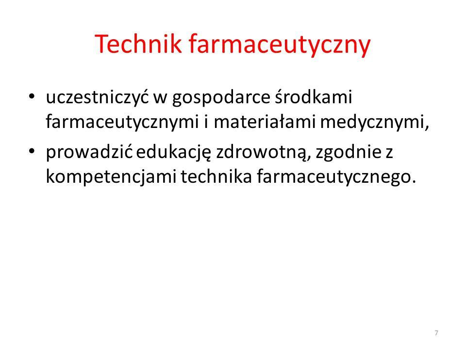 Technik farmaceutyczny uczestniczyć w gospodarce środkami farmaceutycznymi i materiałami medycznymi, prowadzić edukację zdrowotną, zgodnie z kompetencjami technika farmaceutycznego.