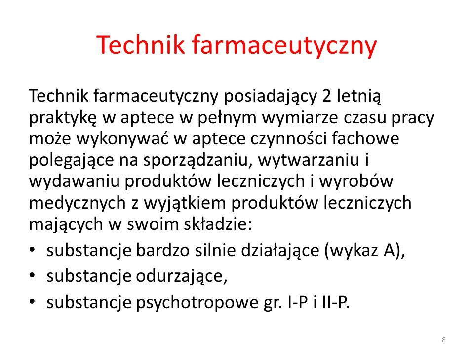 Technik farmaceutyczny Technik farmaceutyczny posiadający 2 letnią praktykę w aptece w pełnym wymiarze czasu pracy może wykonywać w aptece czynności fachowe polegające na sporządzaniu, wytwarzaniu i wydawaniu produktów leczniczych i wyrobów medycznych z wyjątkiem produktów leczniczych mających w swoim składzie: substancje bardzo silnie działające (wykaz A), substancje odurzające, substancje psychotropowe gr.