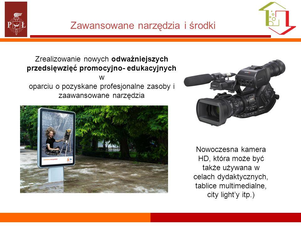 Zawansowane narzędzia i środki Zrealizowanie nowych odważniejszych przedsięwzięć promocyjno- edukacyjnych w oparciu o pozyskane profesjonalne zasoby i zaawansowane narzędzia Nowoczesna kamera HD, która może być także używana w celach dydaktycznych, tablice multimedialne, city light'y itp.)