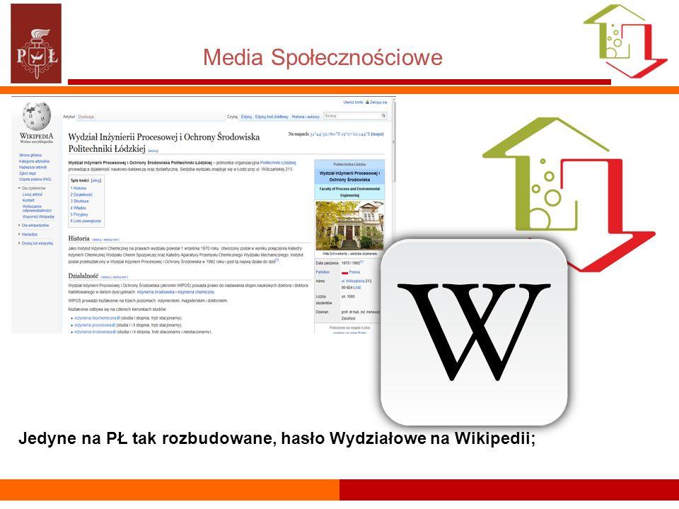 Media Społecznościowe Jedyne na PŁ tak rozbudowane, hasło Wydziałowe na Wikipedii;