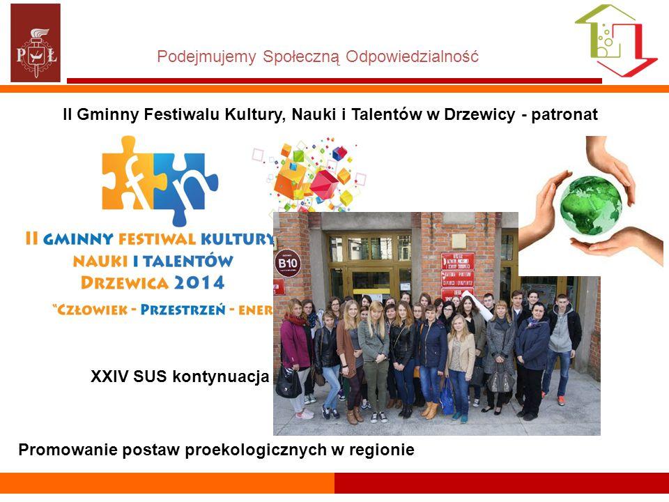 Podejmujemy Społeczną Odpowiedzialność Promowanie postaw proekologicznych w regionie XXIV SUS kontynuacja II Gminny Festiwalu Kultury, Nauki i Talentów w Drzewicy - patronat
