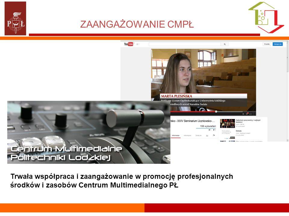 ZAANGAŻOWANIE CMPŁ Trwała współpraca i zaangażowanie w promocję profesjonalnych środków i zasobów Centrum Multimedialnego PŁ