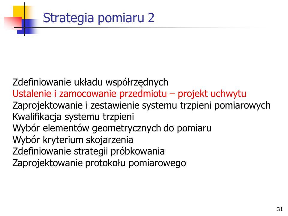 31 Strategia pomiaru 2 Zdefiniowanie układu współrzędnych Ustalenie i zamocowanie przedmiotu – projekt uchwytu Zaprojektowanie i zestawienie systemu trzpieni pomiarowych Kwalifikacja systemu trzpieni Wybór elementów geometrycznych do pomiaru Wybór kryterium skojarzenia Zdefiniowanie strategii próbkowania Zaprojektowanie protokołu pomiarowego