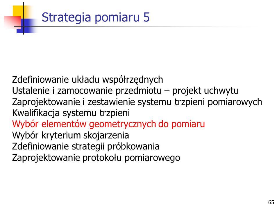 65 Strategia pomiaru 5 Zdefiniowanie układu współrzędnych Ustalenie i zamocowanie przedmiotu – projekt uchwytu Zaprojektowanie i zestawienie systemu trzpieni pomiarowych Kwalifikacja systemu trzpieni Wybór elementów geometrycznych do pomiaru Wybór kryterium skojarzenia Zdefiniowanie strategii próbkowania Zaprojektowanie protokołu pomiarowego