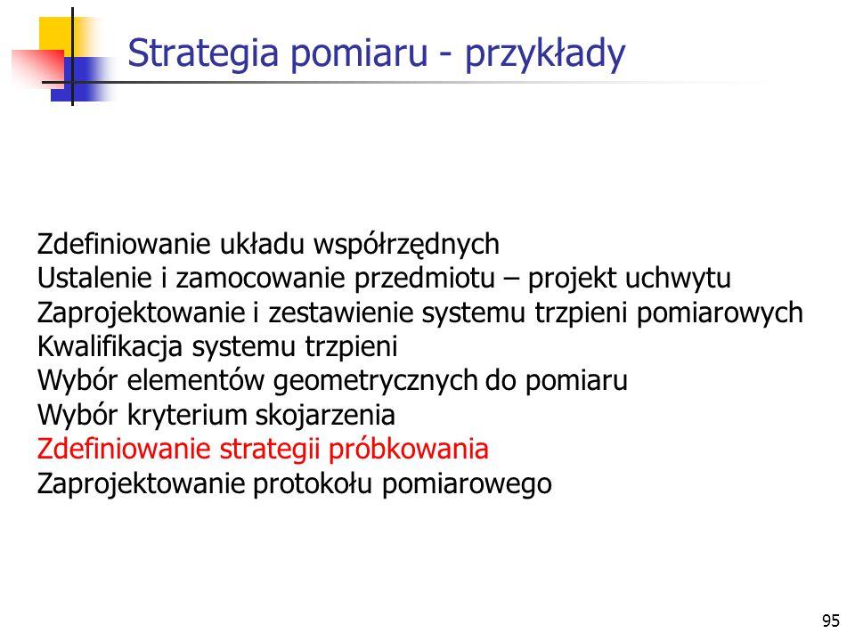 95 Strategia pomiaru - przykłady Zdefiniowanie układu współrzędnych Ustalenie i zamocowanie przedmiotu – projekt uchwytu Zaprojektowanie i zestawienie systemu trzpieni pomiarowych Kwalifikacja systemu trzpieni Wybór elementów geometrycznych do pomiaru Wybór kryterium skojarzenia Zdefiniowanie strategii próbkowania Zaprojektowanie protokołu pomiarowego
