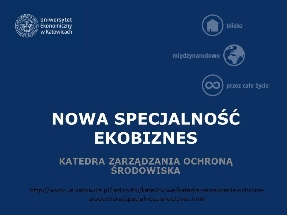 NOWA SPECJALNOŚĆ EKOBIZNES KATEDRA ZARZĄDZANIA OCHRONĄ ŚRODOWISKA http://www.ue.katowice.pl/jednostki/katedry/we/katedra-zarzadzania-ochrona- srodowiska/specjalnosc-ekobiznes.html