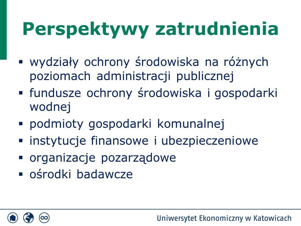 Perspektywy zatrudnienia  wydziały ochrony środowiska na różnych poziomach administracji publicznej  fundusze ochrony środowiska i gospodarki wodnej