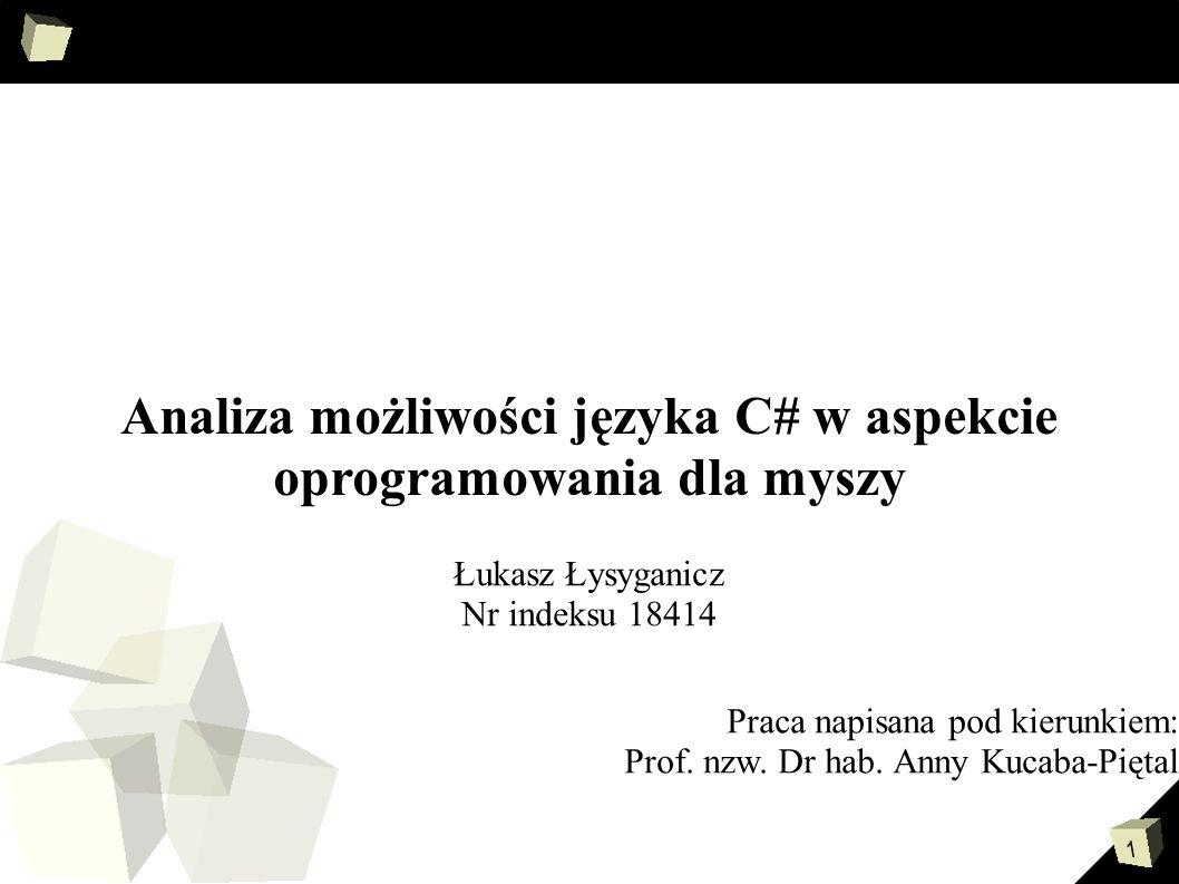 2 Cele pracy Celem mojej pracy była nauka języka C# na podstawie stworzonej aplikacji Gesty.NET.
