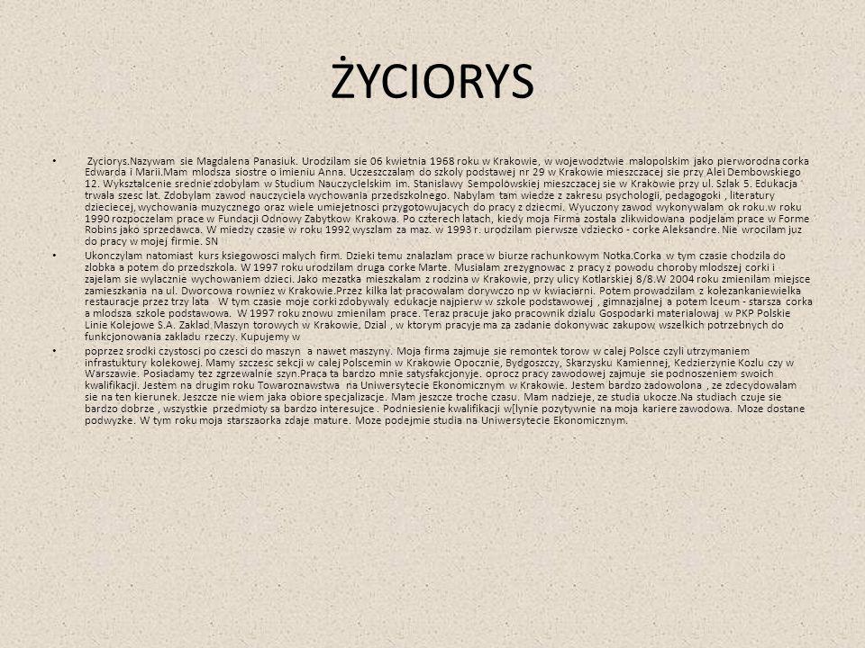 ŻYCIORYS Zyciorys.Nazywam sie Magdalena Panasiuk. Urodzilam sie 06 kwietnia 1968 roku w Krakowie, w wojewodztwie malopolskim jako pierworodna corka Ed
