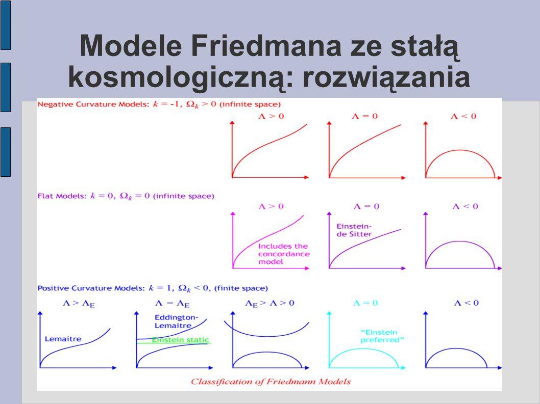 Modele Friedmana ze stałą kosmologiczną: rozwiązania