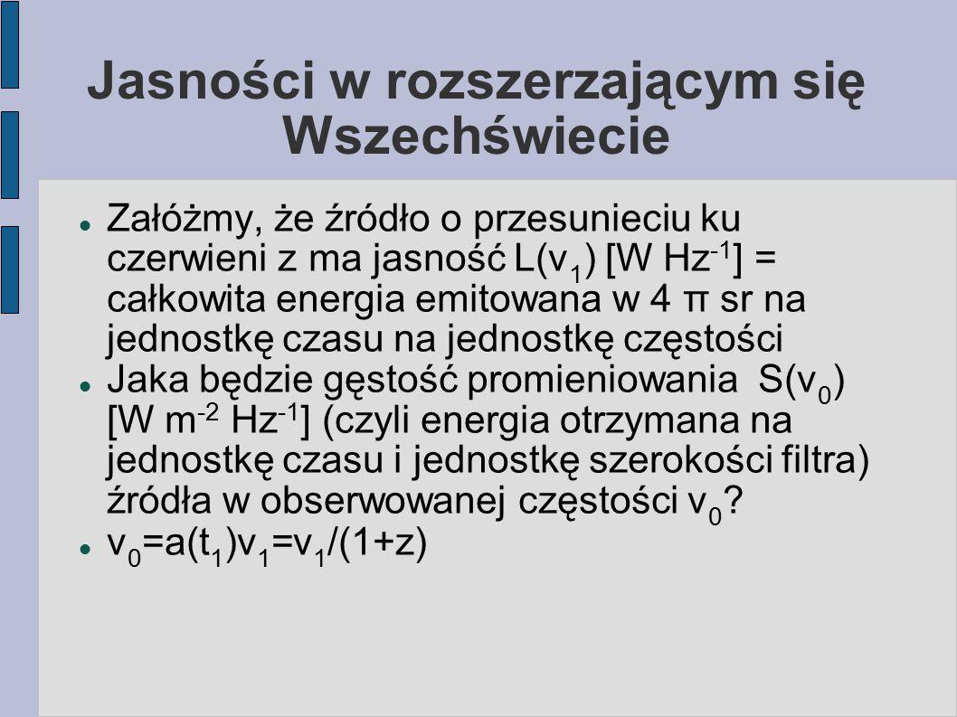 Jasności w rozszerzającym się Wszechświecie Załóżmy, że źródło o przesunieciu ku czerwieni z ma jasność L(ν 1 ) [W Hz -1 ] = całkowita energia emitowa