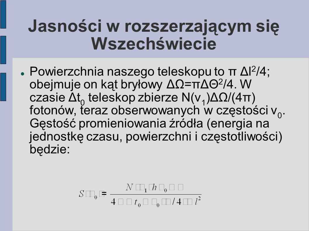 Jasności w rozszerzającym się Wszechświecie Powierzchnia naszego teleskopu to π Δl 2 /4; obejmuje on kąt bryłowy ΔΩ=πΔΘ 2 /4. W czasie Δt 0 teleskop z