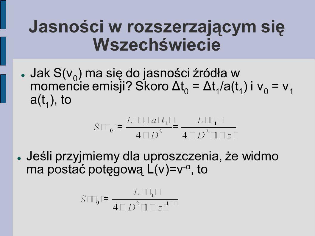 Jasności w rozszerzającym się Wszechświecie Jak S(ν 0 ) ma się do jasności źródła w momencie emisji? Skoro Δt 0 = Δt 1 /a(t 1 ) i ν 0 = ν 1 a(t 1 ), t
