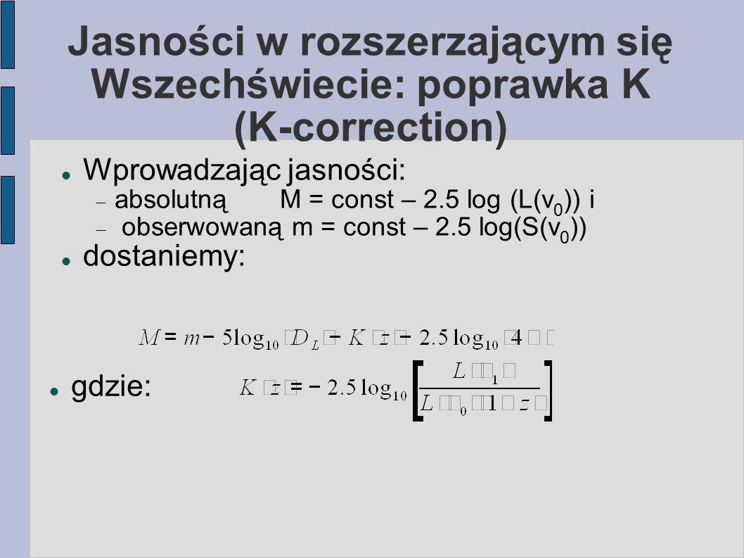 Jasności w rozszerzającym się Wszechświecie: poprawka K (K-correction) Wprowadzając jasności:  absolutną M = const – 2.5 log (L(ν 0 )) i  obserwowa