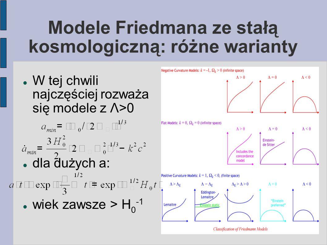 Modele Friedmana ze stałą kosmologiczną: różne warianty W tej chwili najczęściej rozważa się modele z Λ>0 dla dużych a: wiek zawsze > H 0 -1